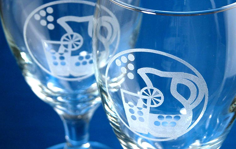 A pair of laser engraved glasses