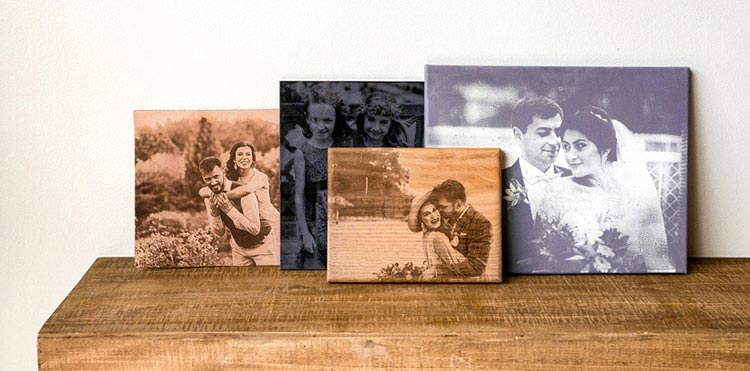 Group of engraved wedding photos
