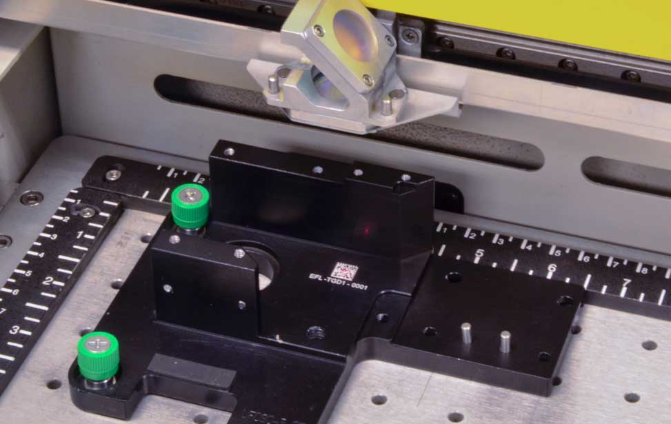 Barcoded part in the laser.