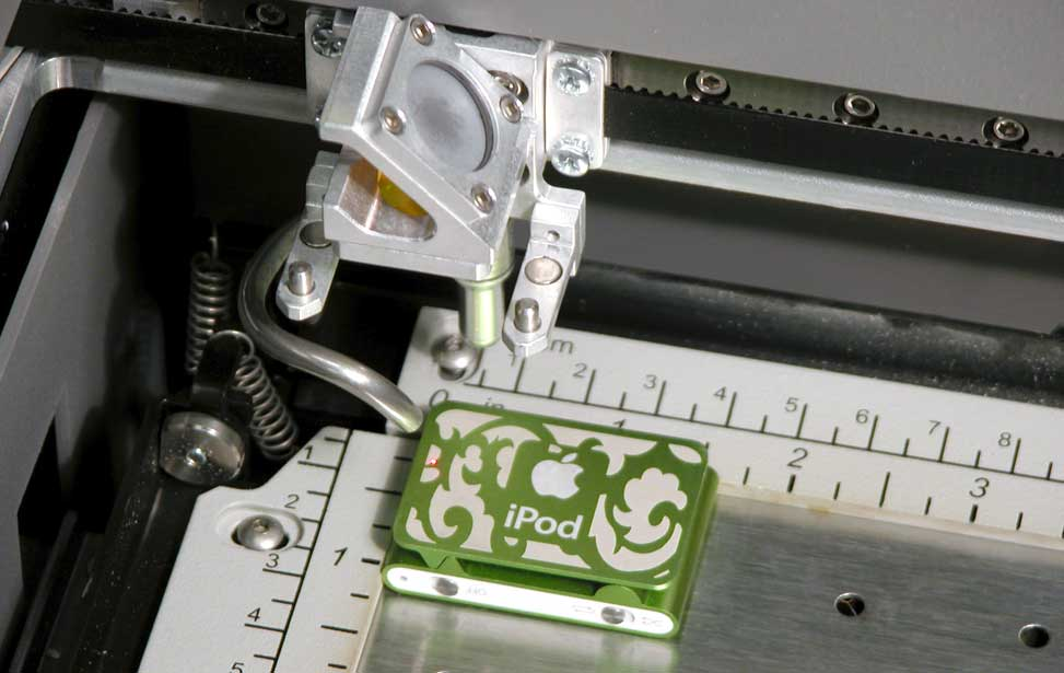 An ipod engraved with a laser.