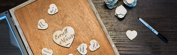A Wedding Shadow Box with some Laser Cut Heart Namecards