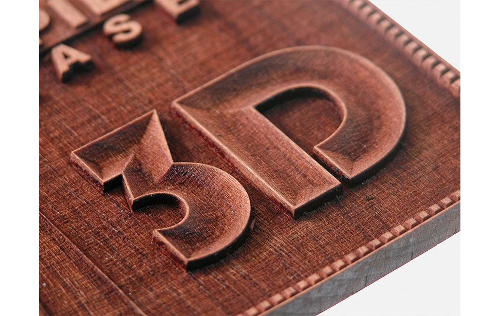 Detail of 3D Engraved Letters