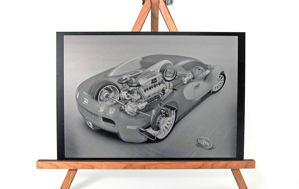 Bugatti car on anodized sheet engraved high resolution