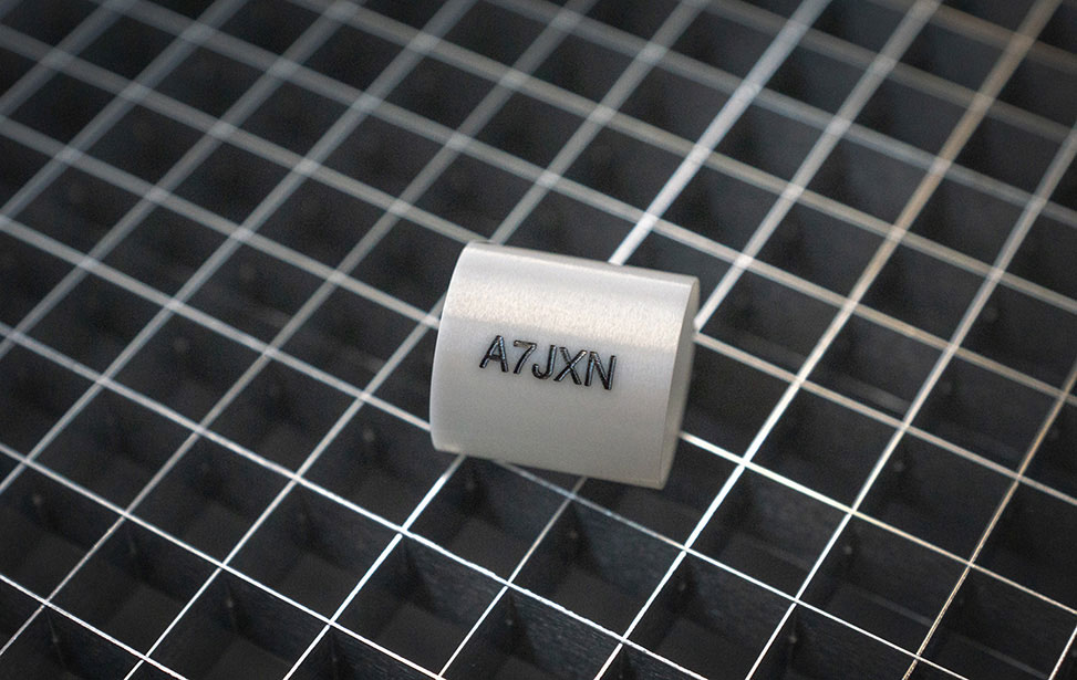 Thin Ceramic Cylinder Laser Marked with Alphanumeric Sequence