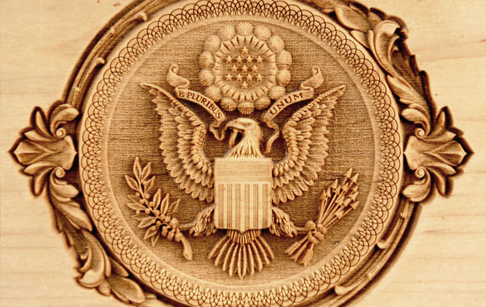 3D Engraved Eagle Engraving on Wood