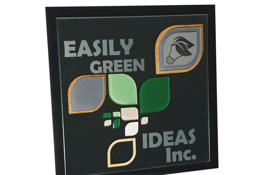 Easily Green acrylic and wood signage for indoor applications