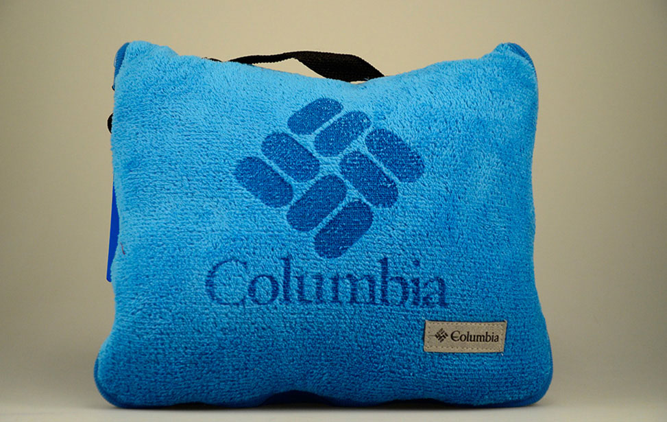 Laser engraved logo on fleece pillow