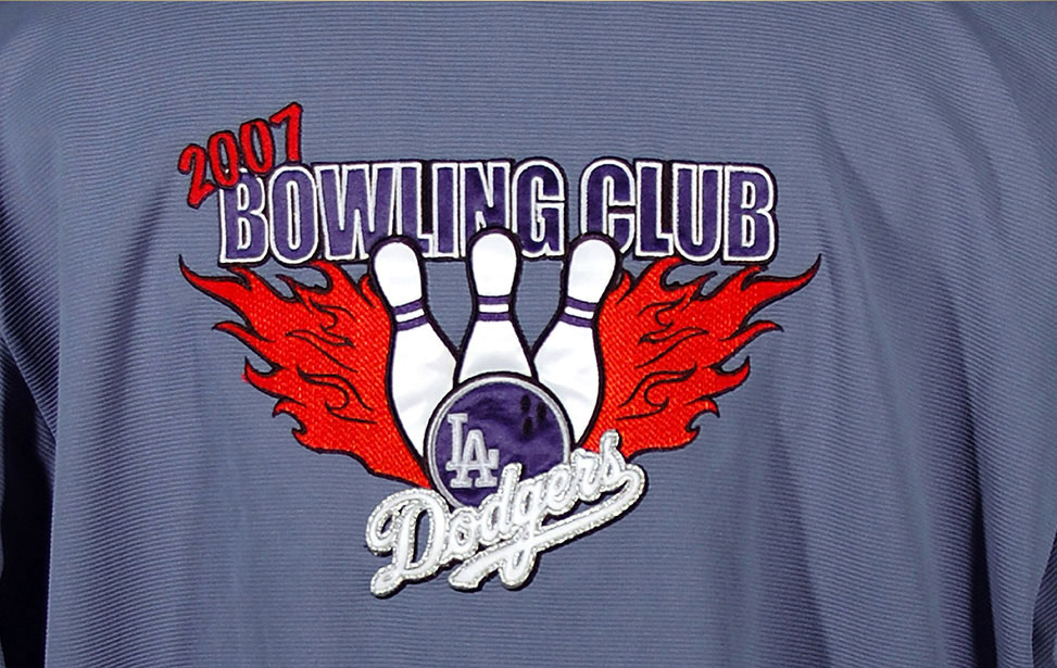 Laser cut appliqué bowling shirt