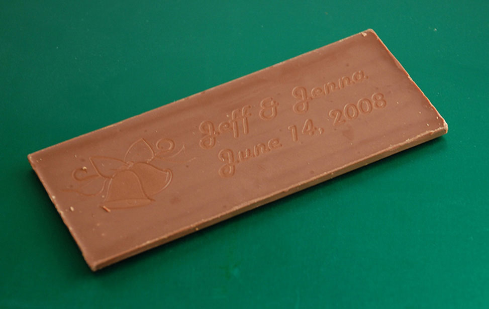 Chocolate Bar Engraved with Laser