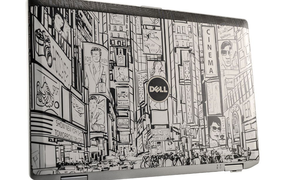 Dell laptop engraved with NYC stylized artistic city scape