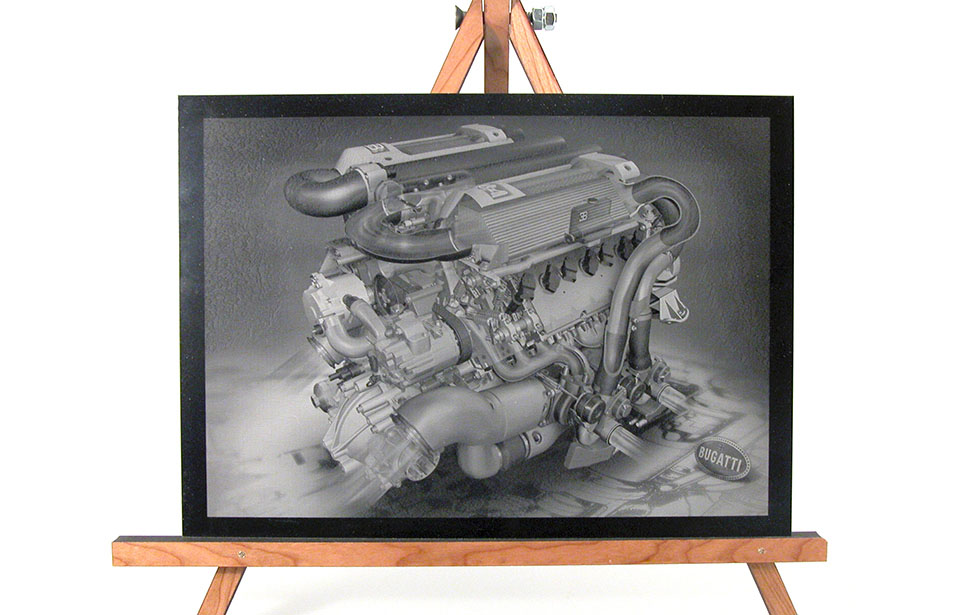 Laser Engraved Photo of an Engine