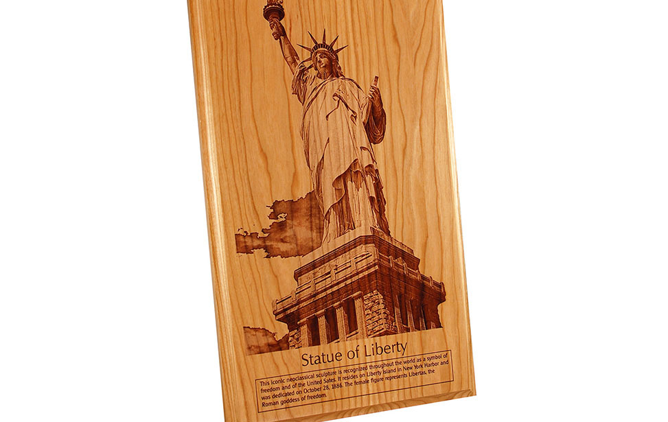 Statue of Liberty Photo Engraving on Wood