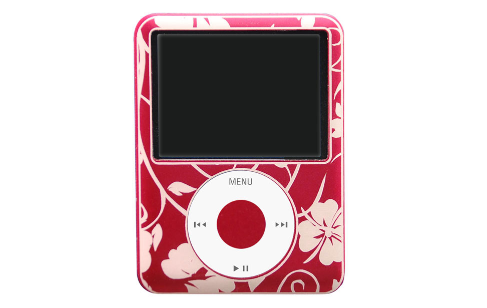 Red apple ipod nano engraved with hawaii style flower pattern