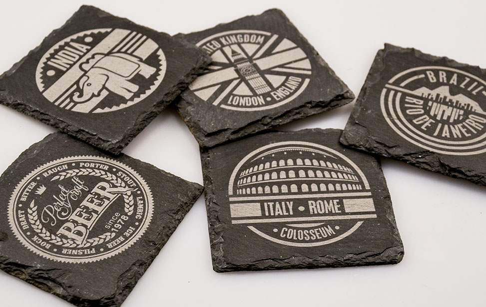 Slate laser Engraved Drink Coasters