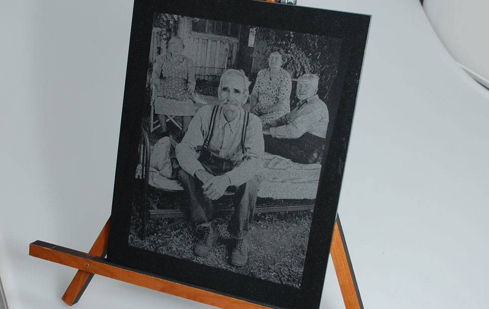 Old Man Photo Engraved on Marble