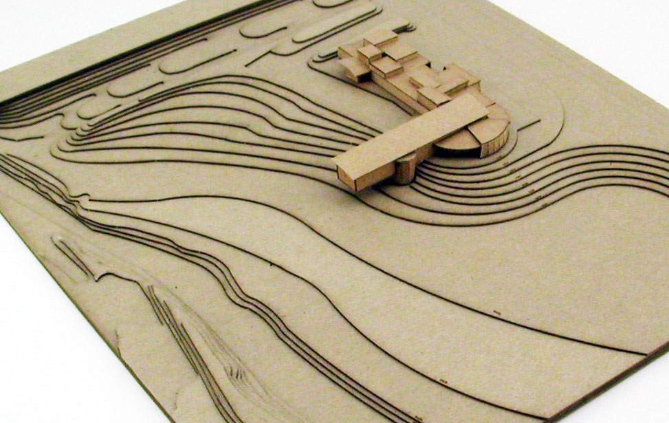 Topographical map model of a building site