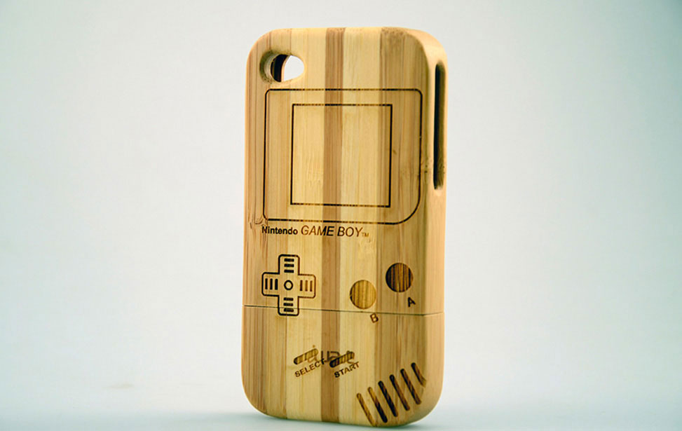 Engraved Game Boy on Bamboo Case