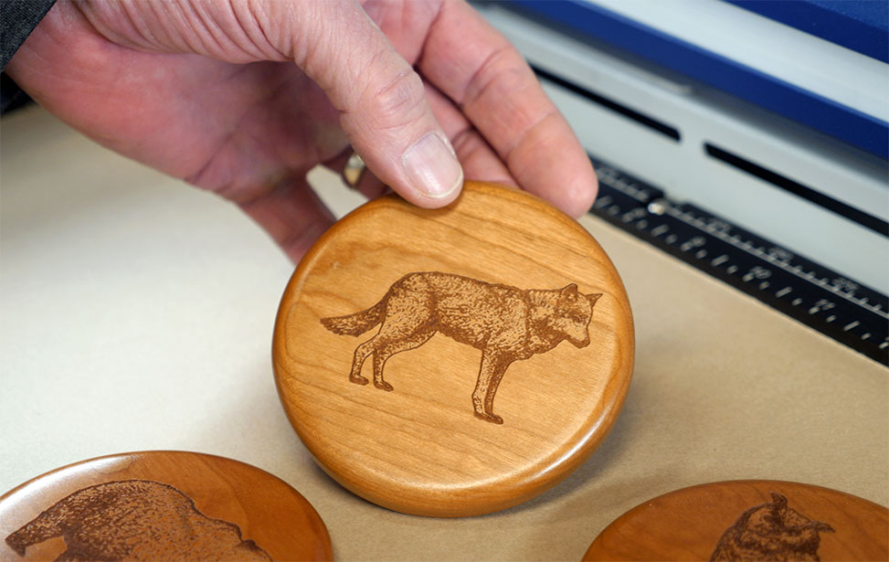 laser engraved wooden coaster