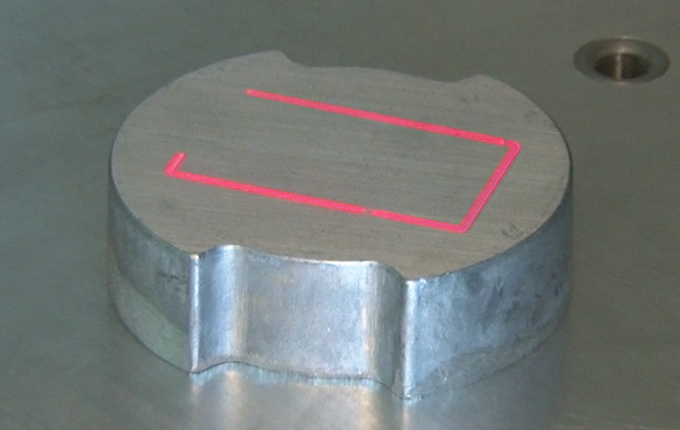 Fiber laser's Red Dot positioning laser.