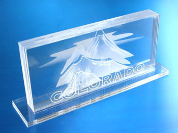 Laser etched acrylic mountain scene.