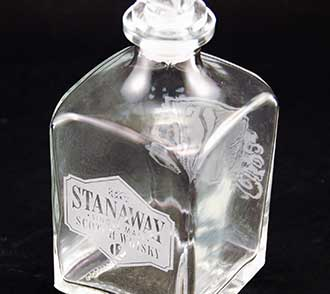 Engraved glass decanter