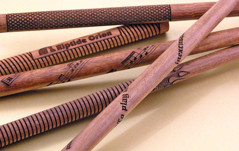 Drumsticks that have been engraved