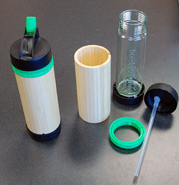 Disassembled water bottle.