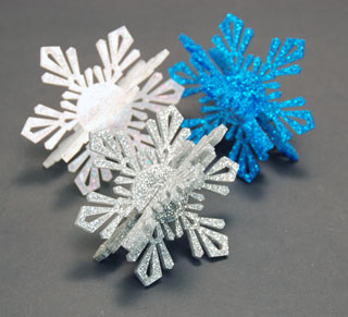 The assembled 3D snowflakes from acrylic.
