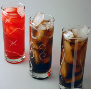 High Ball glasses etched with a laser.
