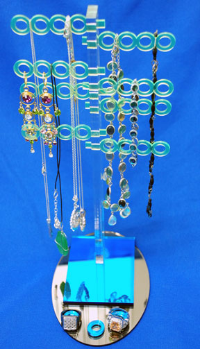 Assembled jewelry stand.