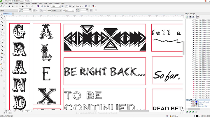 A screen shot of leather bookmark art in Corel Draw