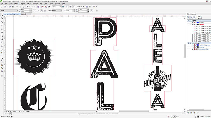 A screen shot of the beer tap handles art in corel draw