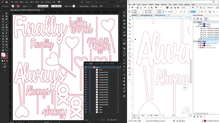 Design files for laser cutting cake toppers