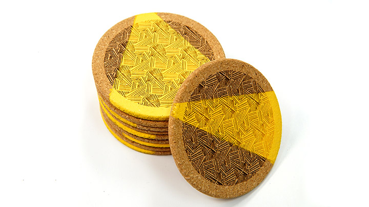 laser engraved painted cork coasters