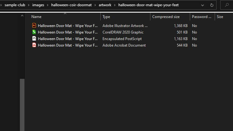 artwork halloween doormat file options in zip