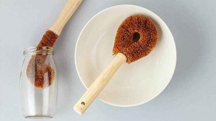coir brushes for cleaning bowls