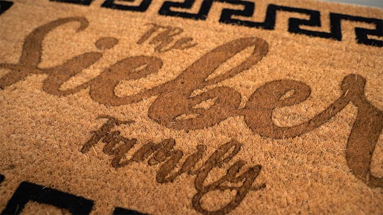 family name coir doormat laser engraving
