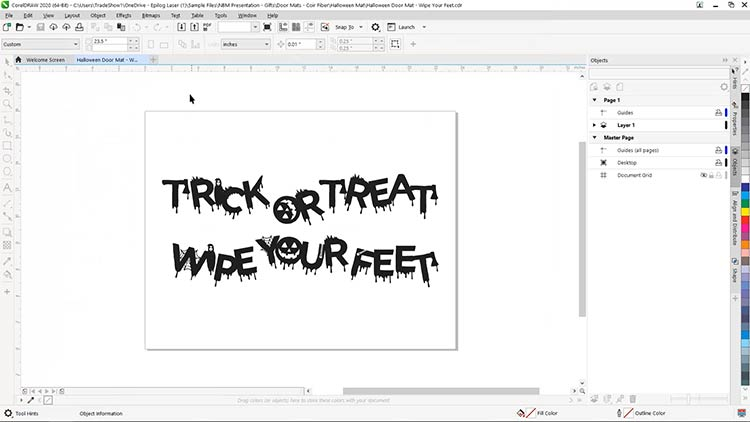 halloween mat graphics coreldraw for coir doormat