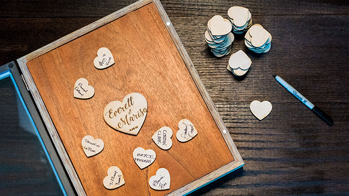 Assembling a wedding guestbook shadow box
